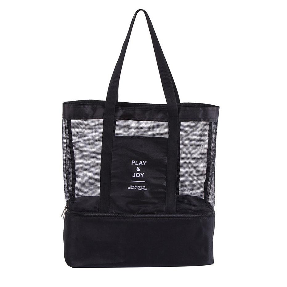 2640ada893f7 2 in 1 Mesh Beach Pool Tote Bags Large Travel Picnic Zipper Shoulder Bag  with Bottom Cooler