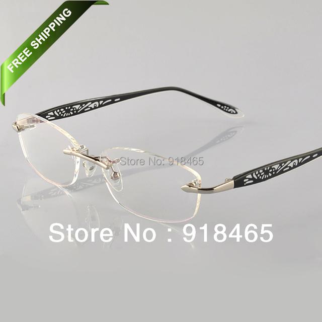Mulheres óculos de moda quadro óculos sem aro meninas miopia óculos óptica óculos prescritpion 58002