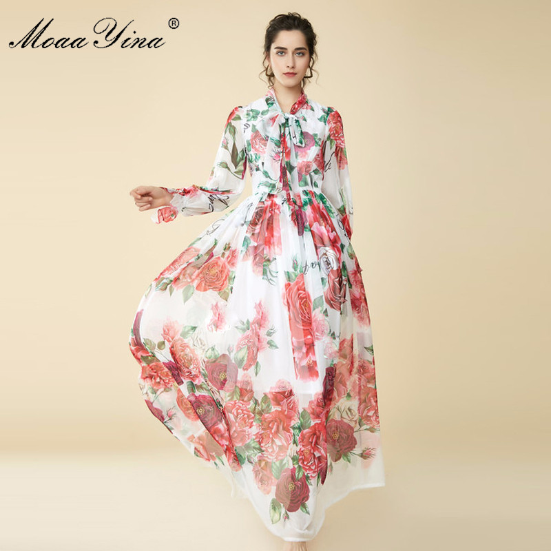 MoaaYina 2018 Spring Summer Maxi Dress Bow Collar rose Floral Prin Butterfly Sleeve Long Casual Holiday Bohemian Loose Dress