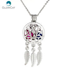 K731 Silver Alloy beaty Dream Catcher Lotus Leaf Pearl Cage Pendant Chain Aroma Essential Oil Diffuser Locket Necklace(China)