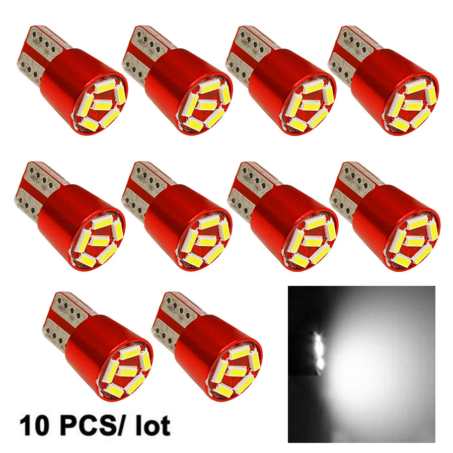 10pcs Super Bright LED Lamp T10 W5W 194 6SMD 4014 Error Free Canbus Interior Bulb White For Car DC 12V Free Shipping New cyan soil bay 1x canbus error free white t10 5630 6 smd wedge led light door dome bulb w5w 194 168 921 interior lamp