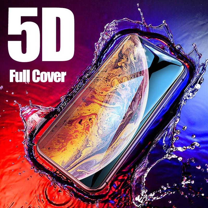 5D מזג זכוכית עבור iPhone XS מקסימום מסך מגן עבור iPhone XR מלא טלפון מגן עבור iPhone 7 8 בתוספת X 6 s 6 7 בתוספת זכוכית