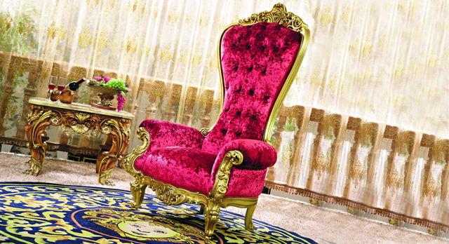 Luxury Royal European Style Solid Wood Carving Golden And Pink Arm Chair