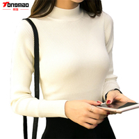 2016 New Fashion Autumn Long Sleeve Turtleneck Women Cashmere Knitted Slim Sweater Female Sexy Casual Solid