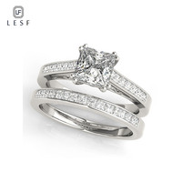 LESF 1.25 ct Princess Cut Engagement Ring Set For Women SONA Synthetic Stone Jewelry 925 Sterling Silver Pave Wedding Bands