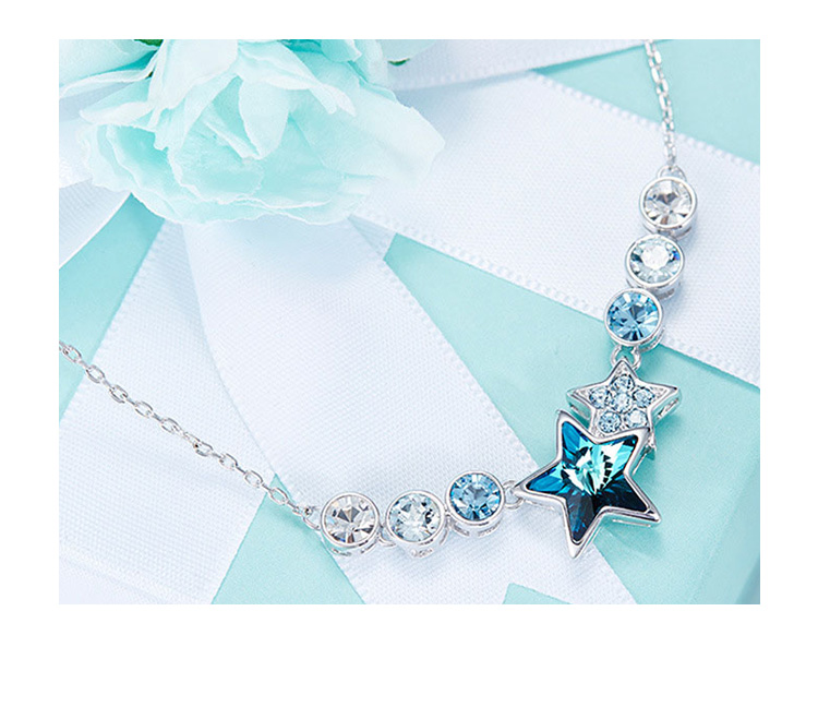 Cdyle Embellished with crystal Pendant Fashion Jewelry Blue Star Shaped Twelve Constellations Bijoux Lady Gift