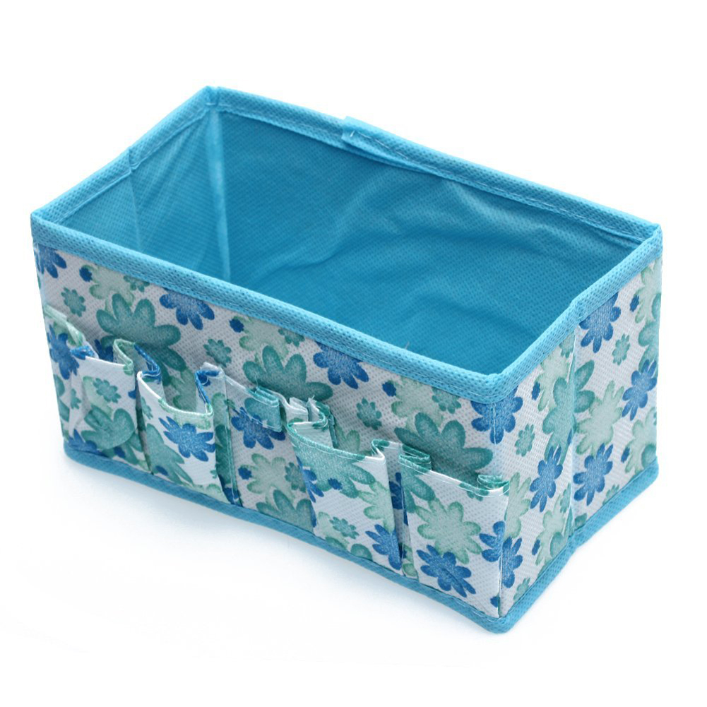 Fashion Folding Multifunction Make Up Cosmetic Storage Box Container Bag - Blue