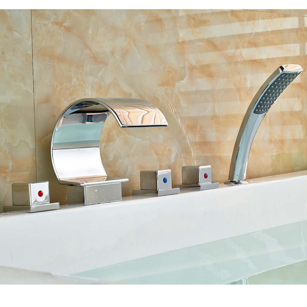 5 Holes Waterfall Bathtub Faucet Deck Mount Widespread Mixer Tap with Handshower цена