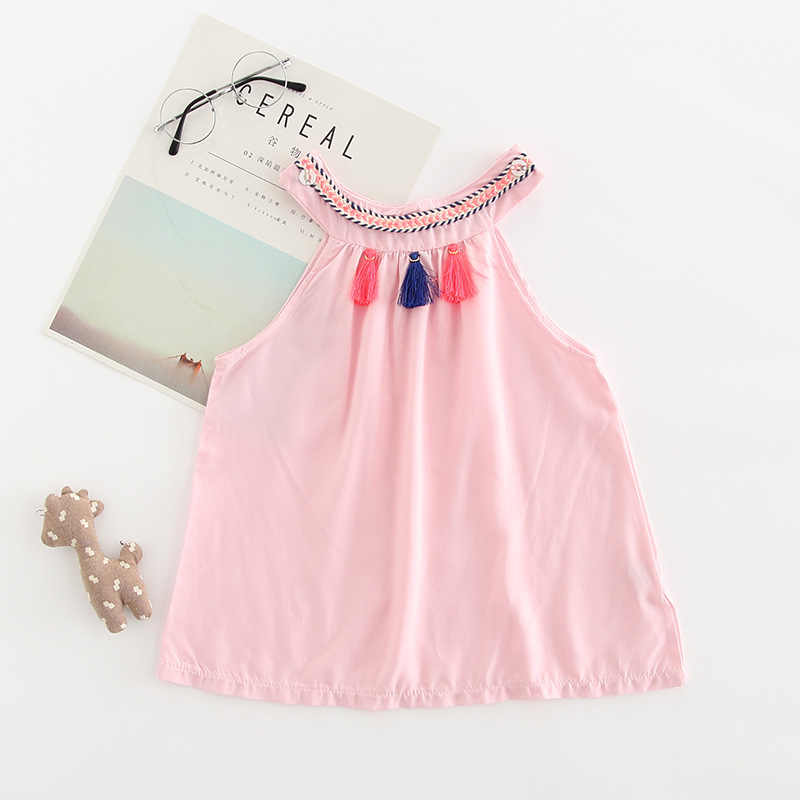 6421f6c6a Baby Girl Clothes Cute Kids Baby Girl Summer Dress O-neck Tassel Solid  Casual Princess