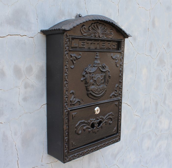 cast iron mailbox postbox embossed trim decor metal mail post letters box for yard patio lawn