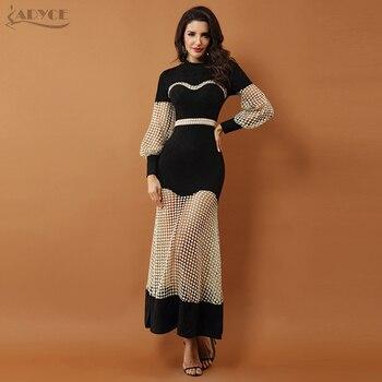 1a17f7559f6 Adyce 2019 Новый Роскошный Знаменитости Вечеринка платья женское платье  черный с длинным рукавом Кружева выдалбливают сетки длинное платье для.