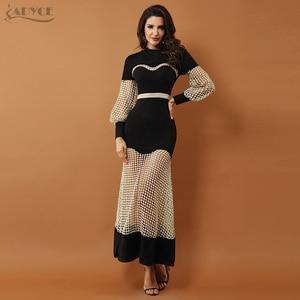 Image 1 - Adyce 2019 New Luxury Evening Dresses ชุดผู้หญิงสีดำยาวแขนยาวลูกไม้ Hollow Out ตาข่าย Maxi ชุดคลับ vestidos