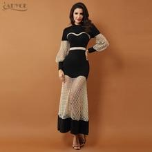 Adyce 2019 Nieuwe Luxe Celebrity Avond Party Jurken Gown Black Lange Mouwen Lace Hollow Out Mesh Maxi Club Dress vestidos
