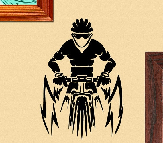 Mountain Bike Driver With Helmet Special Wall Sticker