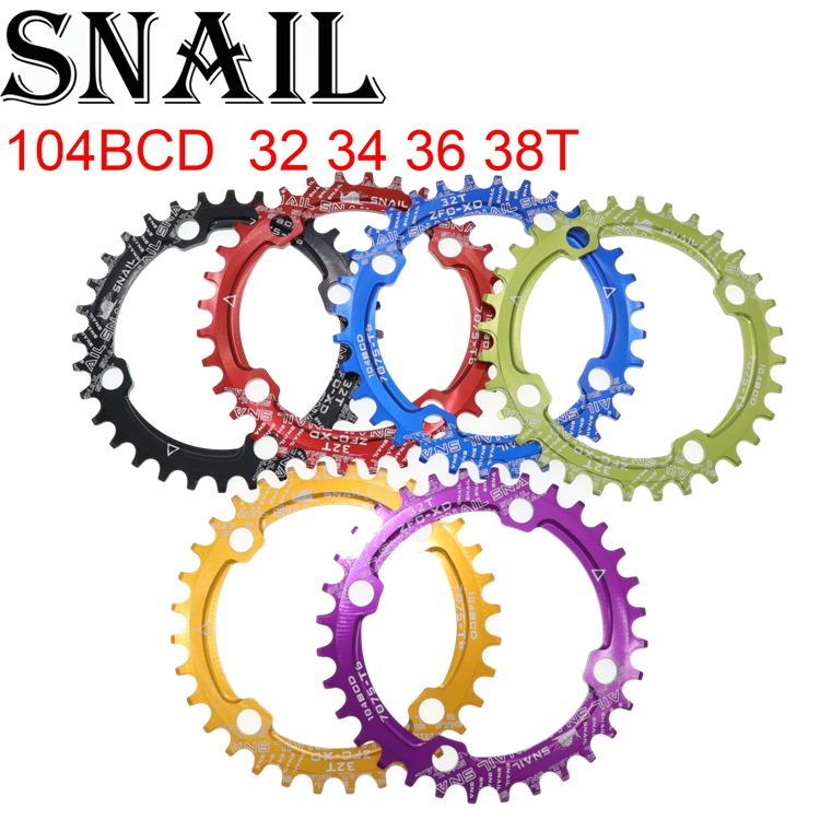 CARACOL Prato Oval 104 BCD 32 34 36T 38T ultraleve estreito largo única placa dentária Mountain Bike MTB anel cadeia 104BCD 6 cor