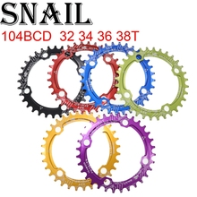 SNAIL Chainring Oval 104 BCD 32 34 36T 38T ultralight narrow wide single tooth plate MTB Mountain bike 104BCD chain ring 6 color цена 2017