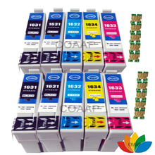 цена на 10 Compatible 1631 1632 1633 1634 Ink Cartridge for EPSON Workforce WF 2630WF 2530WF 2540WF 2010W 2520NF 2650DWF Printer 16XL