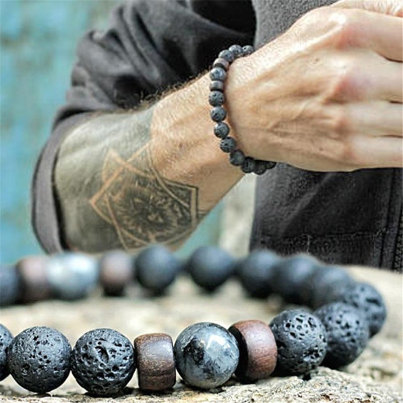 YIZIZAI Natural Lava Rock Stone Beads Strand Bracelet Wooden bead Accessories Black Charm Stone Men Women Jewelry Gift