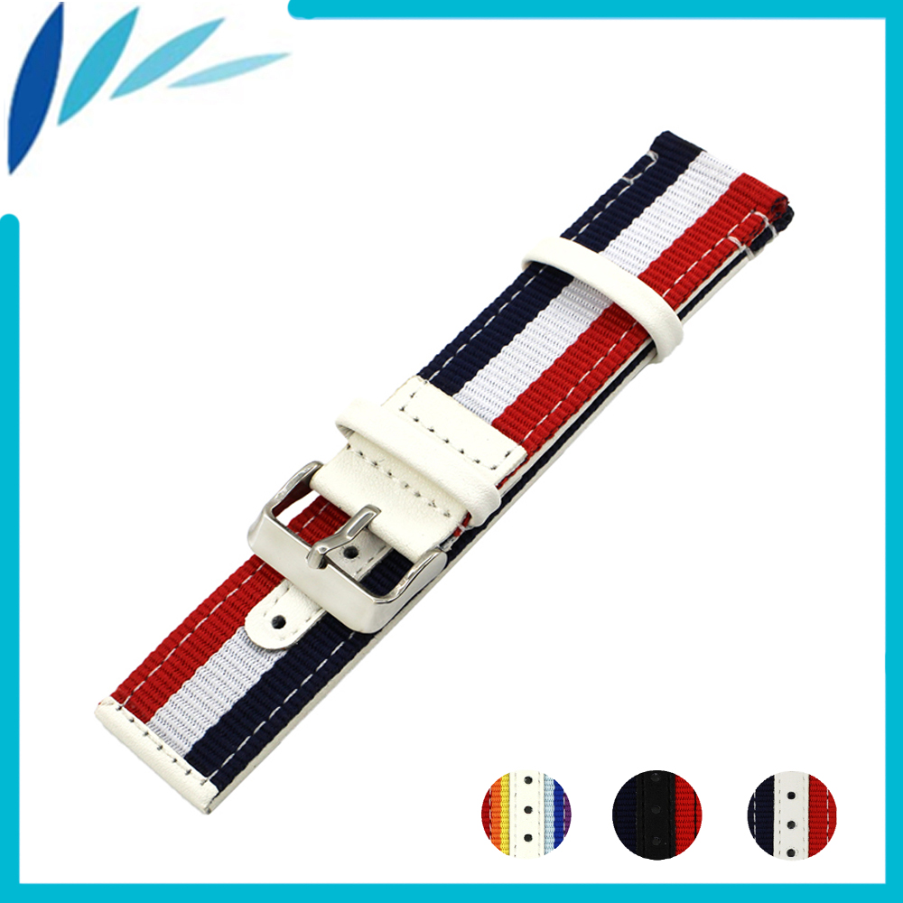 Nylon Nato Leather Watch Band 22mm 24mm for Tudor Canvas Fabric Strap Wrist Loop Belt Bracelet Black White Red Blue + Spring Bar stainless steel watch band 26mm for garmin fenix 3 hr butterfly clasp strap wrist loop belt bracelet silver spring bar
