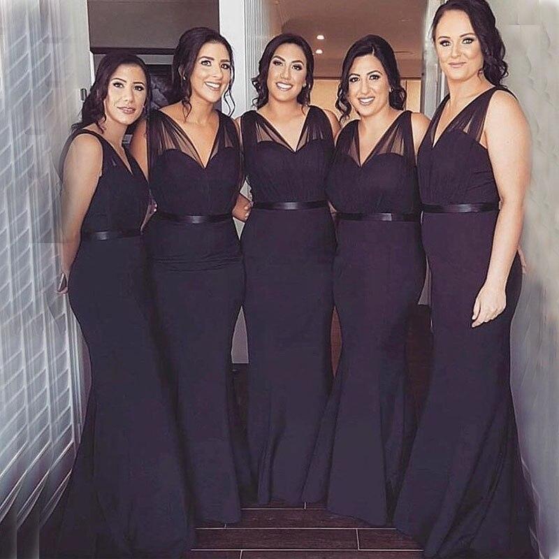 Plus Size Dark Purple Mermaid   Bridesmaid     Dresses   V-neck Pleats Tulle Straps Vestido De Festa Longo Full Length Formal Party Gown