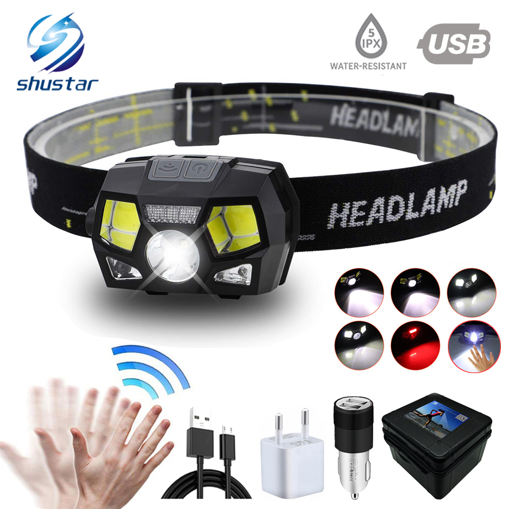 Super Bright Led Headlamp Built In Inductive Sensor Usb Rechargeable 6 Lighting Mode Led Headlight For Running, Fishing, Etc.