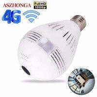 3G 4G SIM Card 1080P HD Wireless Dome IP Camera Bulb Wi Fi 360 Degree FishEye VR Audio Home CCTV Security Light Module Camera
