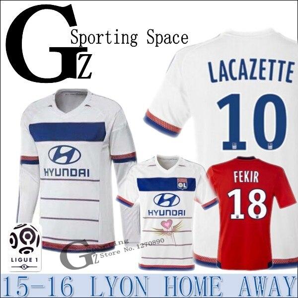 big sale 74880 b3333 Lyon jersey 2015 2016 red away casero blanco Olympique ...