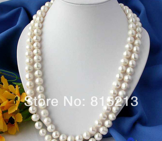 """ddh001345 50"""" 11-12MM ROUND WHITE FRESHWATER CULTURED PEARL NECKLACE"""