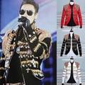 Masculina chaqueta de lentejuelas BORLA negro traje traje chaqueta outwear ropa bailarín cantante rendimiento bar discoteca fiesta vestido de la manera