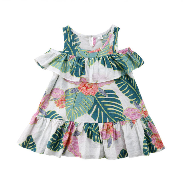 fb3db360e20 Tropical Style Summer Baby Girls Off Shoulder Leaves Print Dress Holiday  Beach Party Children Kid Girls