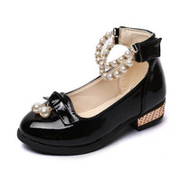 Children Beaded Princess Shoes Soft Sole Patent Leather Fashion Bowknot Rhinestone Flower Girls Dress Shoes