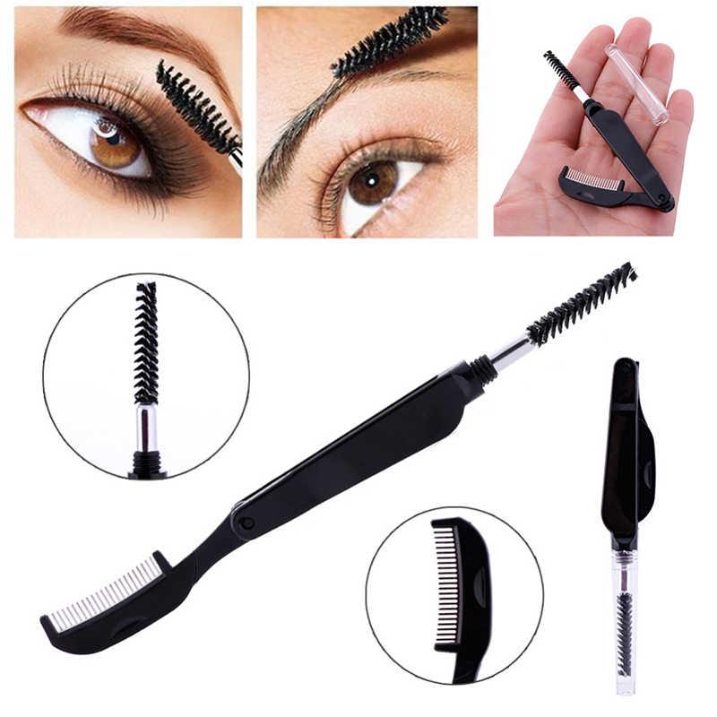 646efc65878 Double Head Fashion Foldable Steel Eyebrow Eyelashes Eye Brow Extension  Brush Metal Comb Cosmetic Makeup Tools