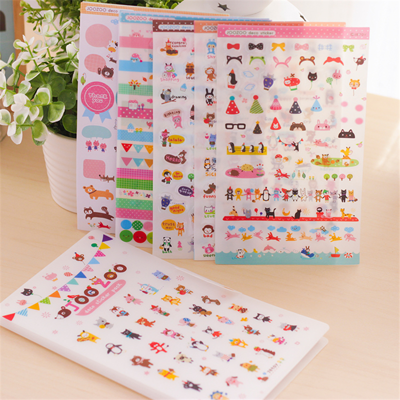 цены на 8 Sheets Jetoy Joozoo Kawaii Sticker Masking Paper Diary Stickers Planner Stickers/sticky Notes/papeleria/stationery Products в интернет-магазинах