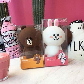 Kawaii Koreański Piśmienne Kreskówki Niedźwiedź Brunatny Żel krzemionkowy Piórnik Torba Cute Bunny Cony 3D Pencilcase Prezenty Dla Dziewczyny Chłopiec dzieci