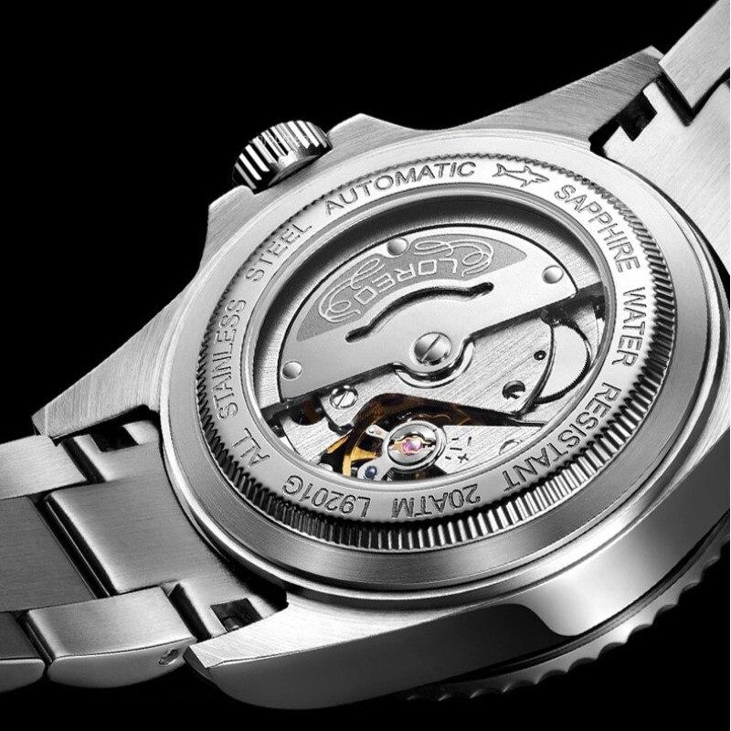 Новинка 2019, 20 бар, часы для дайвинга, автоматические, роскошный бренд, сапфир loreo, механические часы, мужские, с календарем, светящиеся, с водн... - 6