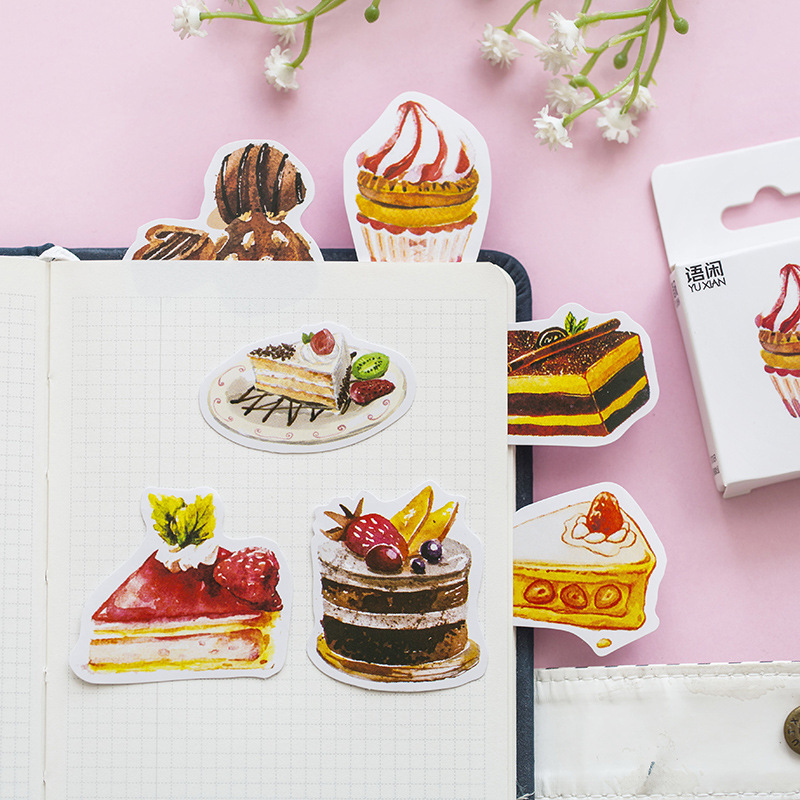 50 Pcs /Pack Sweet Cake Mini Stickers DIY Decorative Sealing Paste Stick Label School Office Supply