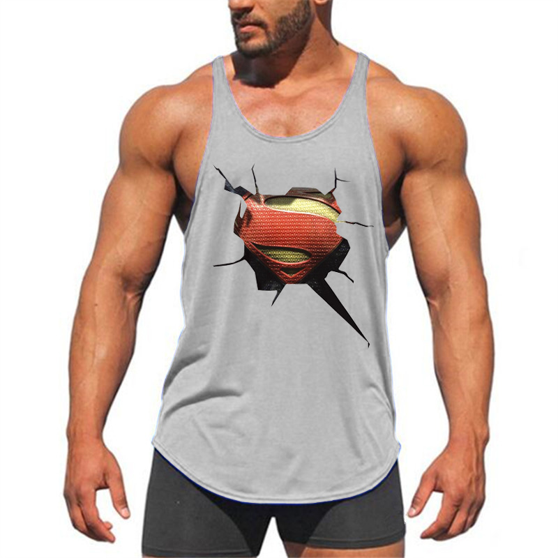 e9853fa4 Brand Fitness Clothing 3D Superman gyms tank top men bodybuilding stringer  singlets muscle vest Weightlifting Sleeveless Shirt