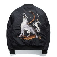2017 Winter Men Embroidery Baseball Jacket Thick Warm Harajuku Wolf Loose Coat Youth Ma 1 Bomber