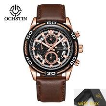 2019 NEW Mens Watches OCHSTIN Fashion Casual Watch Men Chronograph Waterproof Sports Leather Wristwatch relogio masculino