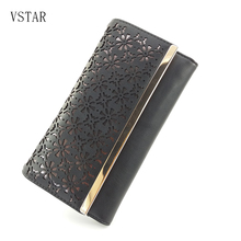 2018 Fashion hollow out Flower Luxury Design Women Wallets Female Clutch Bag Coin Ladies High quality PU Wallet with Metal bar