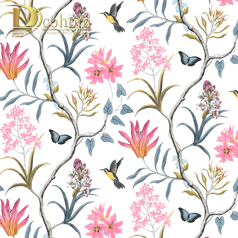 Chinoiserie Wallpaper Bedroom Wall Covering Modern Vintage Pink Floral Wallpaper Blue Tropical Butterfly Birds Flower Wall Paper Wallpapers Aliexpress