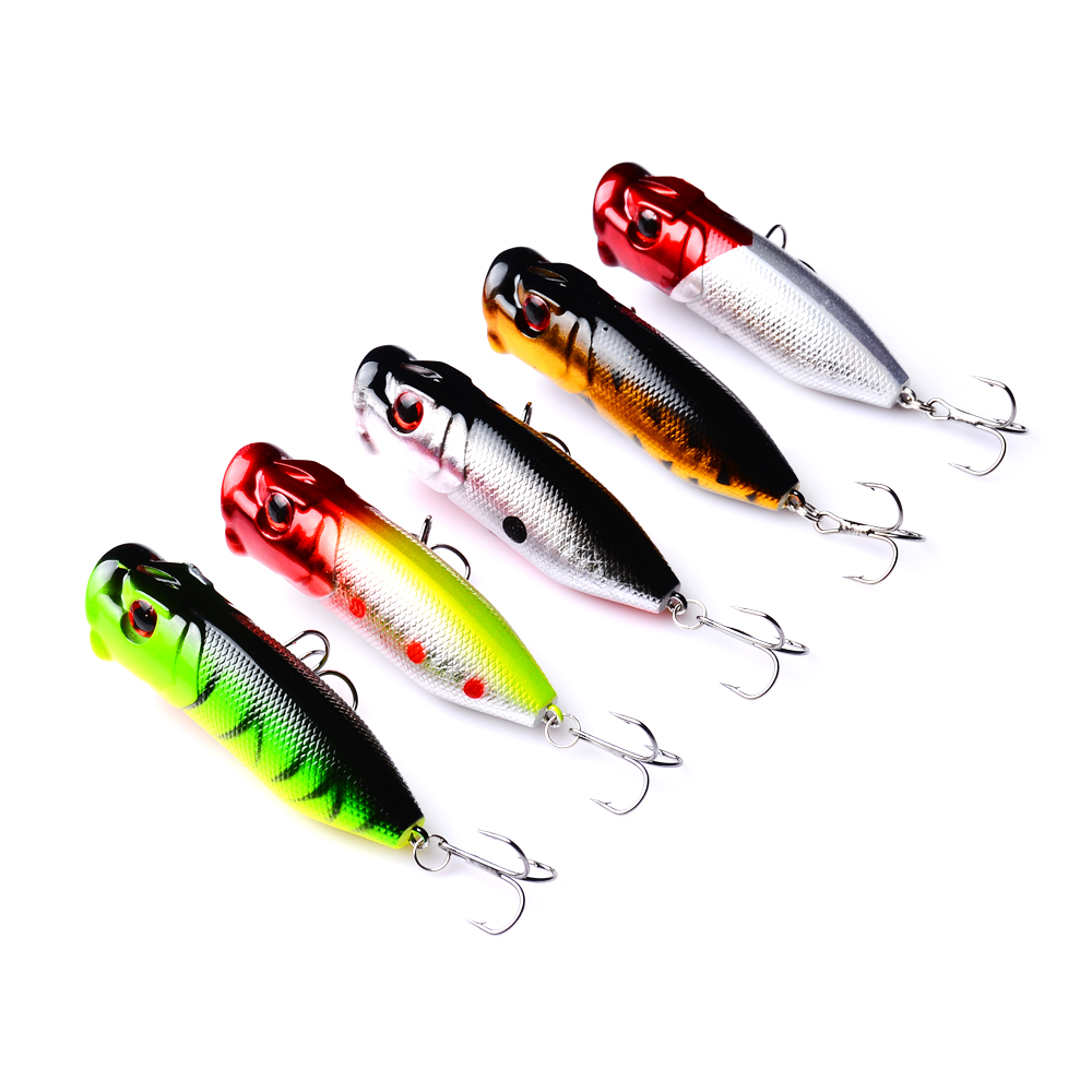 5PCS Lot 6 5cm 13g Popper Fishing Lure Hard Fishing Baits Top Water Lure Saltwater Fishing Lures for Pike Bass in Fishing Lures from Sports Entertainment