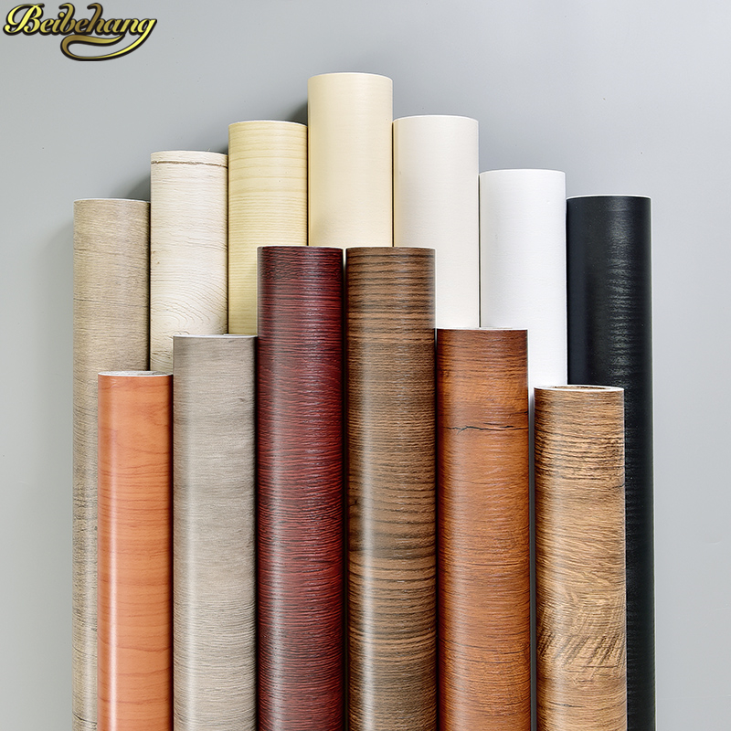 beibehang 60X500cm Old furniture renovation Waterproof self adhesive wallpaper for walls 3 d papel de parede pvc wood stickers