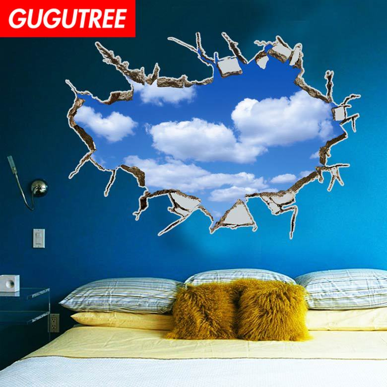 Decorate Home 3D blue sky cloud art wall sticker decoration Decals mural painting Removable Decor Wallpaper LF-337