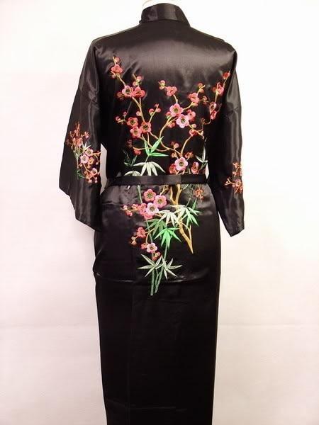 Gratis frakt svart kinesiska kvinnor satin siden broderi mantel Kimono badklänning blomma storlek S M L XL XXL XXXL W3S002