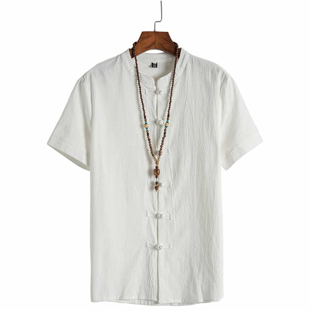 男性のクラシック花ボタンシャツトップス唐半袖リネンブラウスリネンシャツ男性服シャツ男性ドレスショート