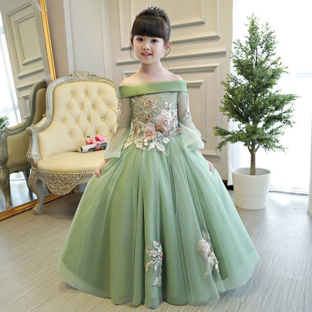 2018new European Luxury Girls Party Princess Dress Kids Embroidered