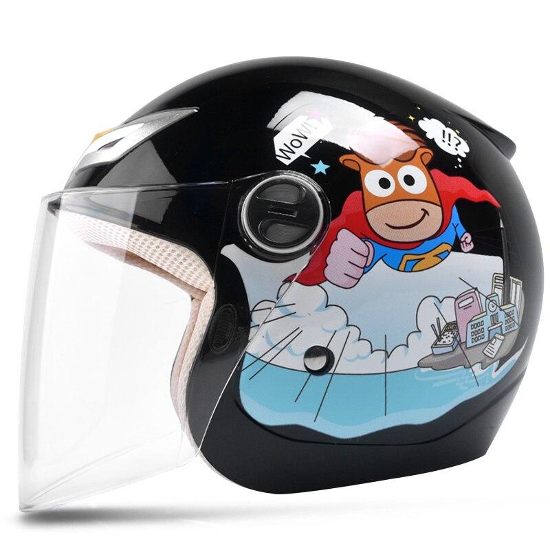 Noir cartoon garçons enfants moto cross visage ouvert casque moto rcycle enfants fille casques moto rbike enfants moto casque de sécurité