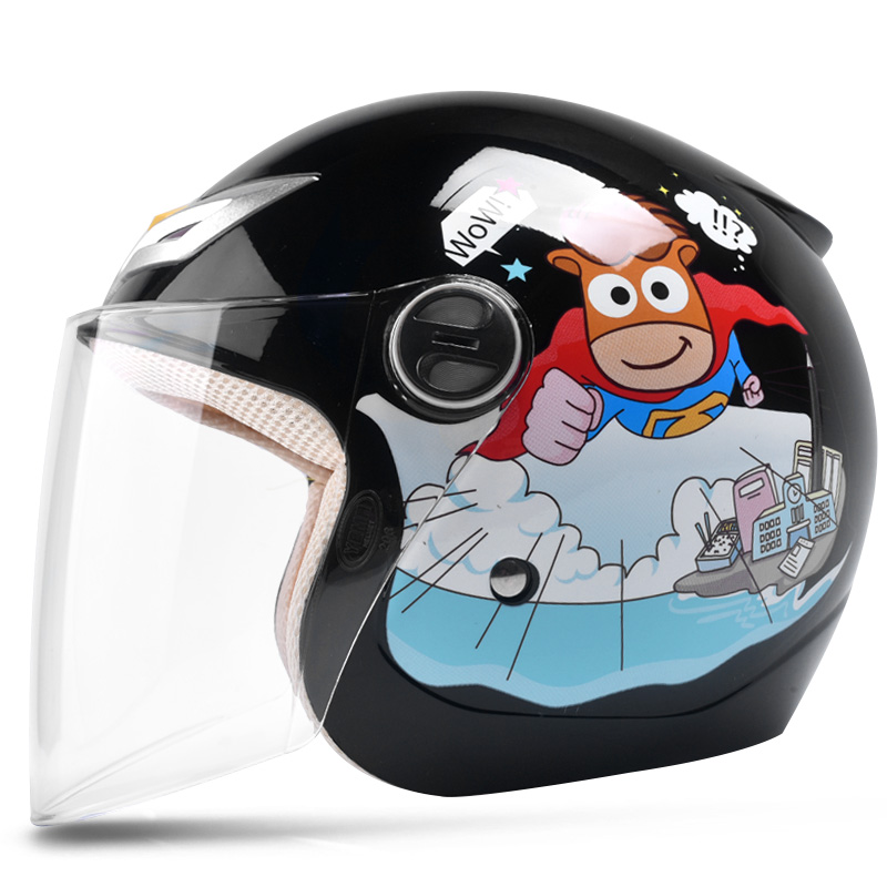 black cartoon boys children motocross open face helmet