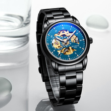 2019 new WLISTH mechanical watch mens fashion cool black steel band table casual wrist Relogio masculino